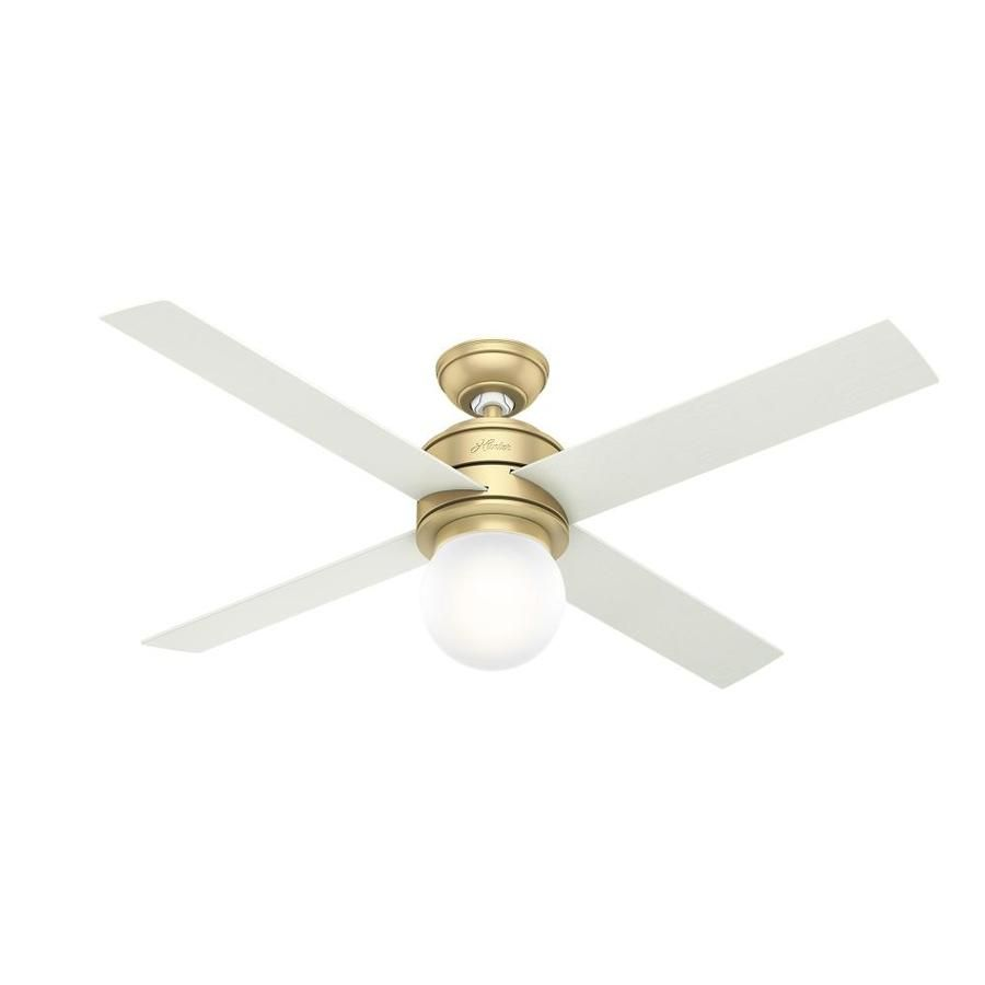 Hunter Hepburn 52 In Satin Brass Led Indoor Ceiling Fan With Light Kit And Remote 4 Blade Lowes Com Fan Light Ceiling Fan With Light Brass Ceiling Fan