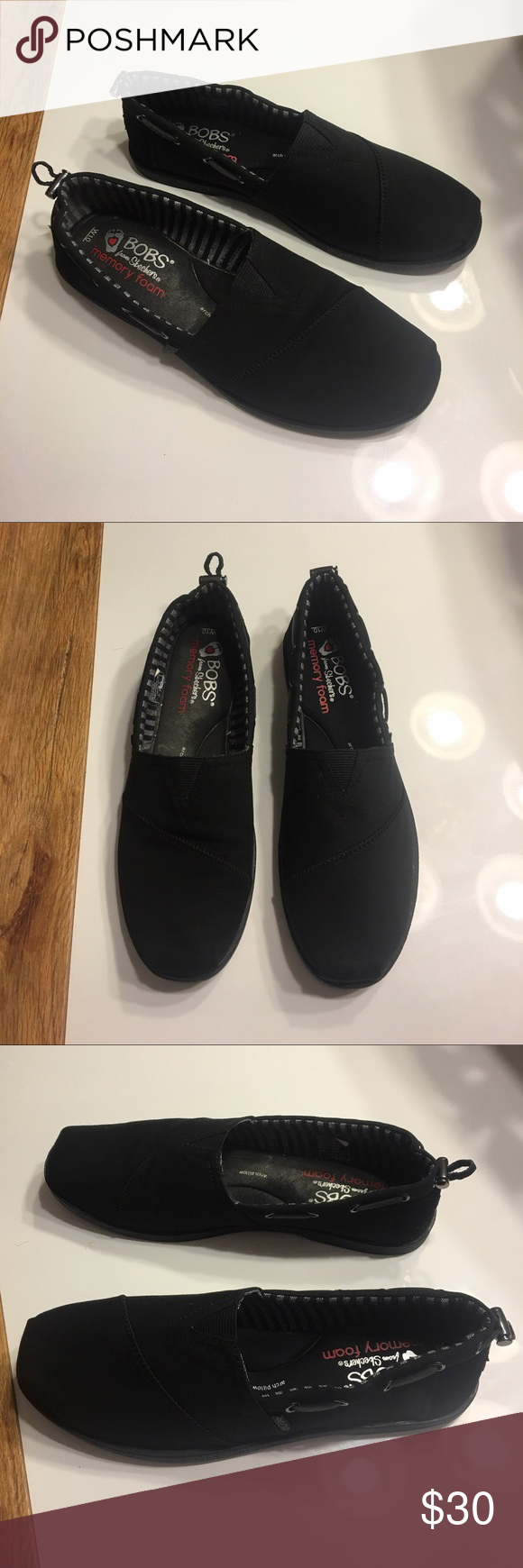 New Bobs by Skechers black comfort flats sz 10 New Bobs by Skechers black comfort flats sz 10 one shoe was used as a display so it has some dust. Very comfy shoes memory foam Skechers Shoes Flats & Loafers