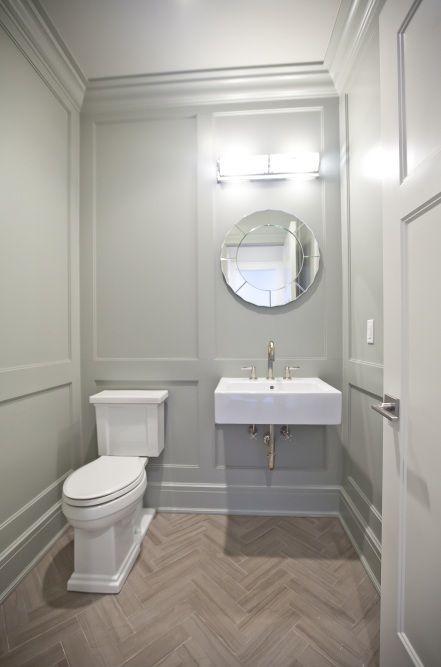 Powder Room Sinks gray paneled powder room walls, floating sink & herringbone floors