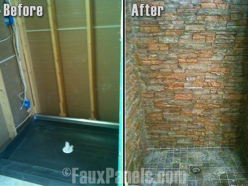 Photo Image Faux stone bathroom showers are a great way to enhance your home