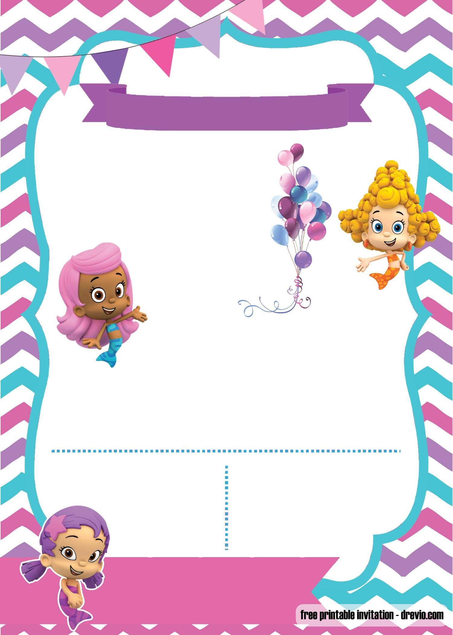 Free Printable Bubble Guppies Invitation Template Drevio Bubble Guppies Invitations Bubble Guppies Birthday Birthday Banner Template