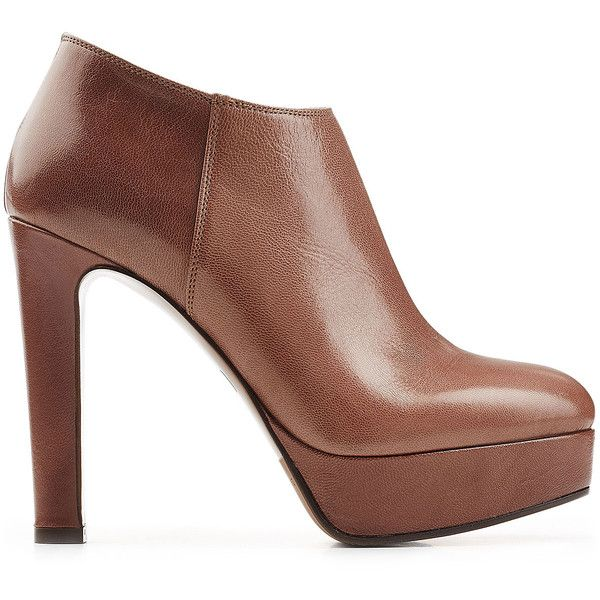 LAutre Chose Leather Platform Ankle Boots (15.840 RUB) ❤ liked on Polyvore featuring shoes, boots, ankle booties, brown boots, brown ankle boots, brown leather ankle booties, short leather boots and platform ankle boots