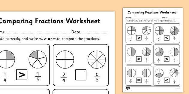 Number Names Worksheets fraction comparing Free Printable – Comparing and Ordering Fractions Worksheet