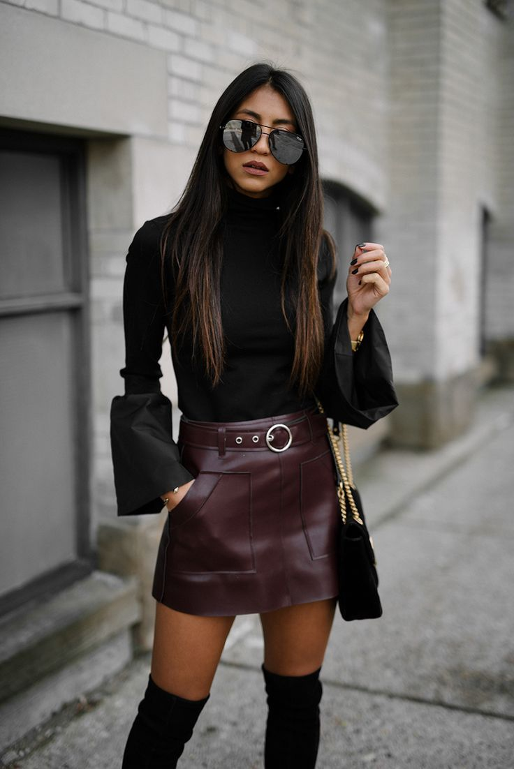 1b0afaa5bf bell sleeves // leather skirt // OTK boots | winter fashion in 2019 ...