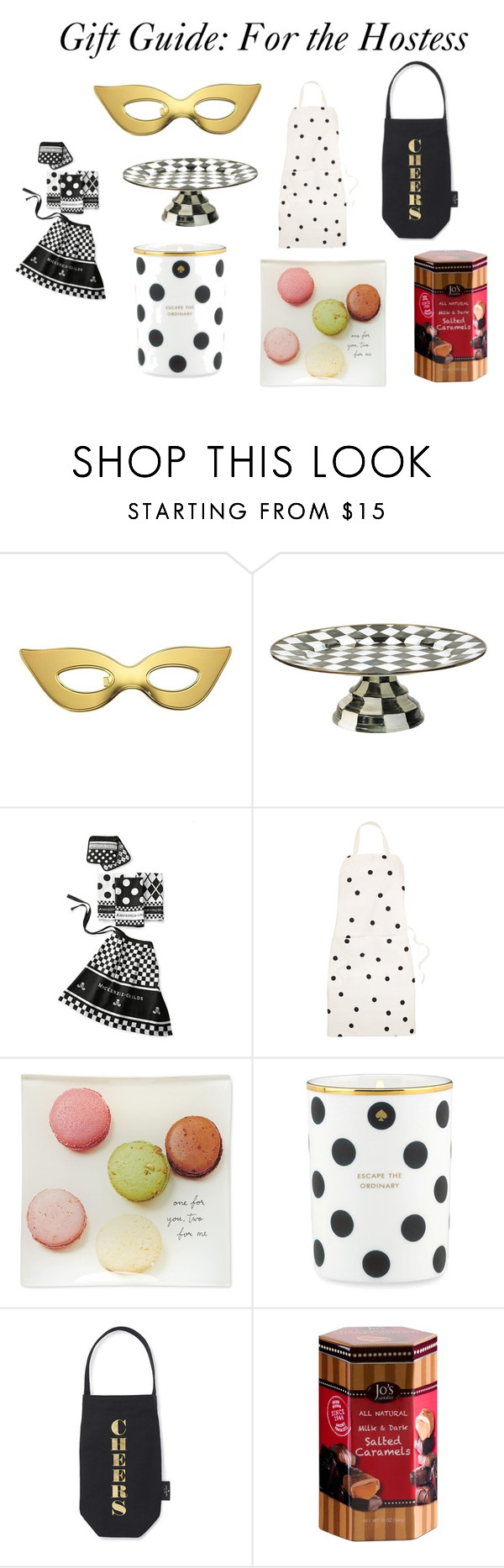 """Gift Guide: For the Hostess"" by macaronsandcoffee ❤ liked on Polyvore featuring interior, interiors, interior design, home, home decor, interior decorating, Kate Spade, MacKenzie-Childs and Jo's Candies"