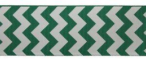 1.5 Chevron Pattern on Emerald Green Ribbon by the yard - Oak Hill?