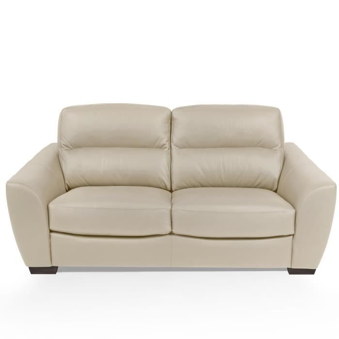 Unicadesign Canape Cuir 3 Places Barone Beige Made In Italy L 205 X P 100 X H 92 Cm Canape Tissu Canape Fixe Et Canape Club