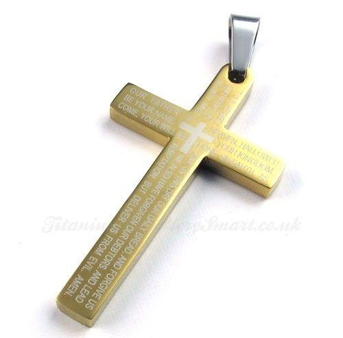 Scripture titanium gold cross pendant necklace free chain 44 scripture titanium gold cross pendant necklace free chain 44 material titaniumsize 46mm x 26mm x 3mm mozeypictures Choice Image