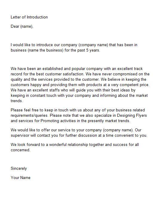 business introduction letter letter of introduction template 15 sss 14808