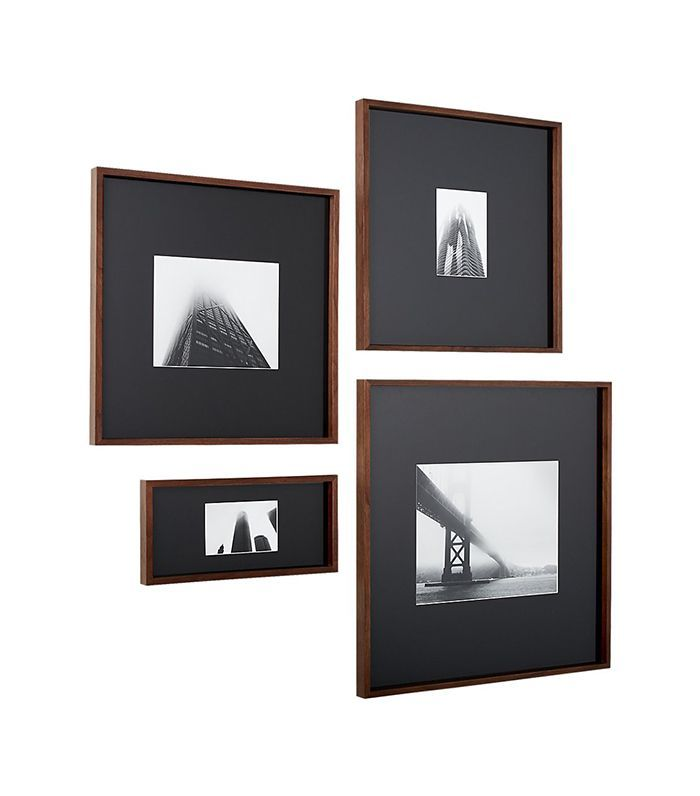 Cb2 Walnut Frames With Black Mats Photo Frame Wall Photo Wall Display Picture Frames
