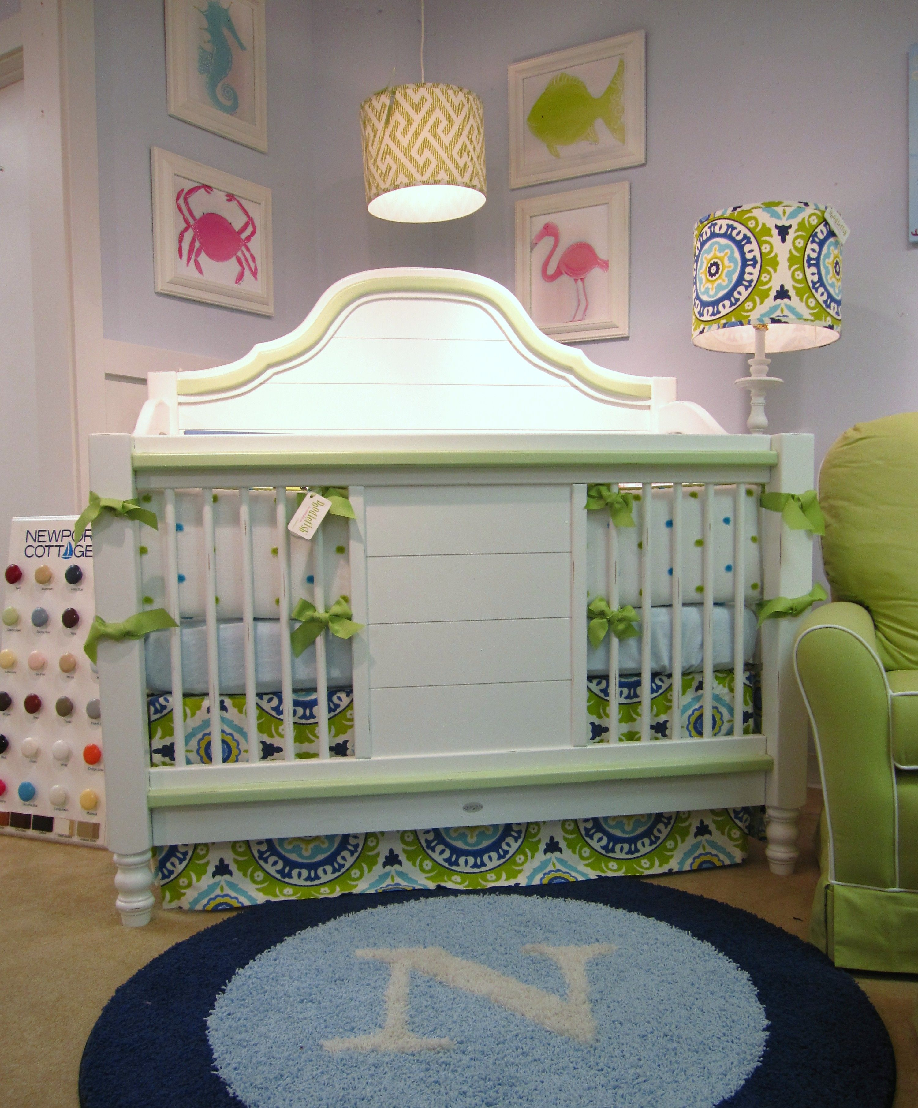 Doodlefish Kids Del Sol Bedding on our Cape Cod Conversion Crib
