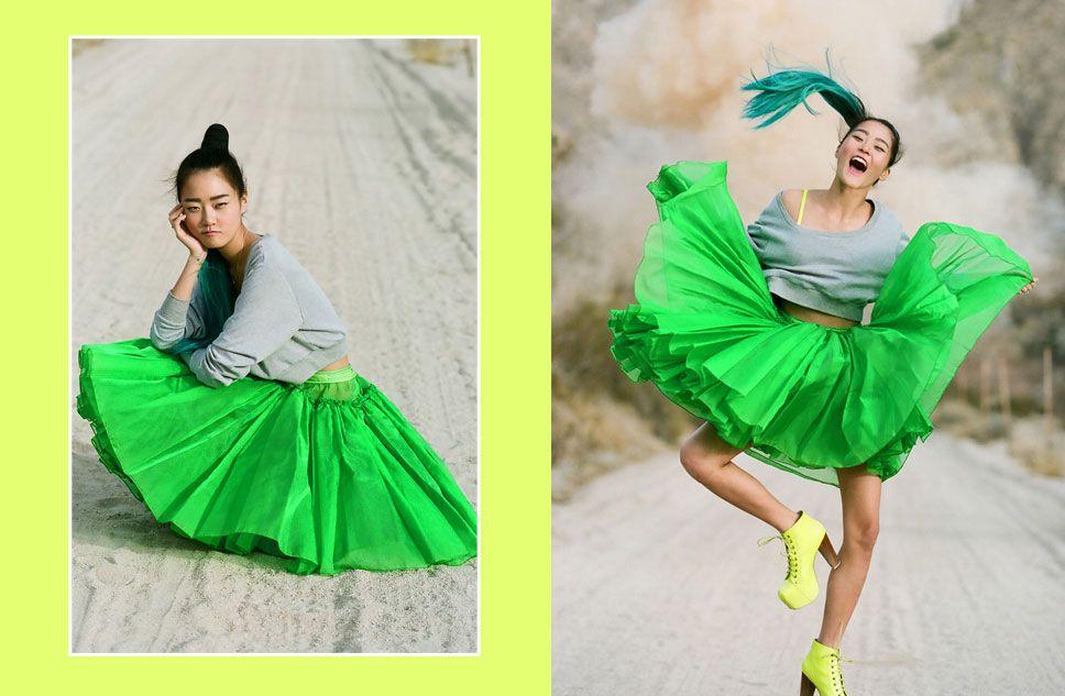 Nasty Gal x Mink Pink big, fluffy neon green skirt.