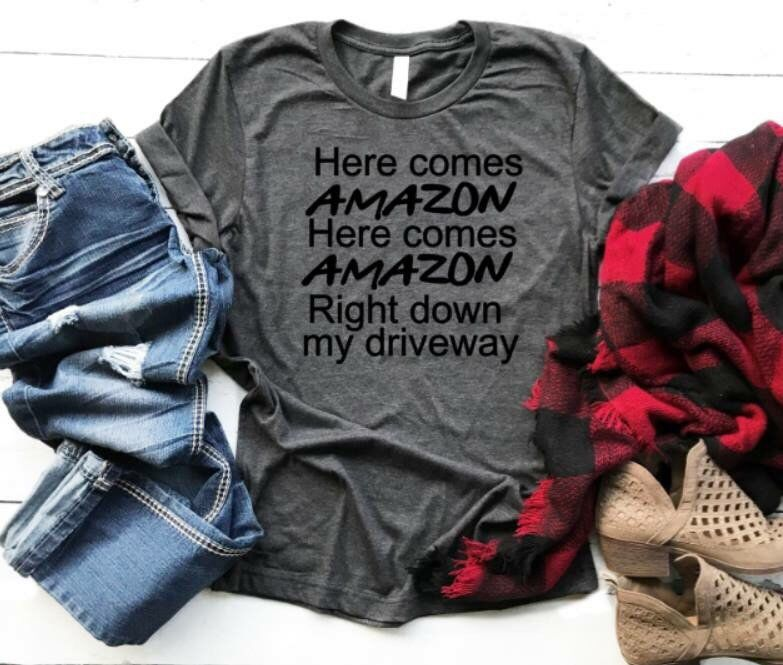dcdd90a37 Excited to share this item from my #etsy shop: Funny t-shirt for women -  amazon shopper - graphic tee for women - here comes amazon - funny graphic  tee for ...