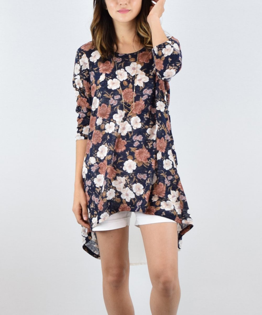 éloges navy floral chiffon hilow tunic floral chiffon and products