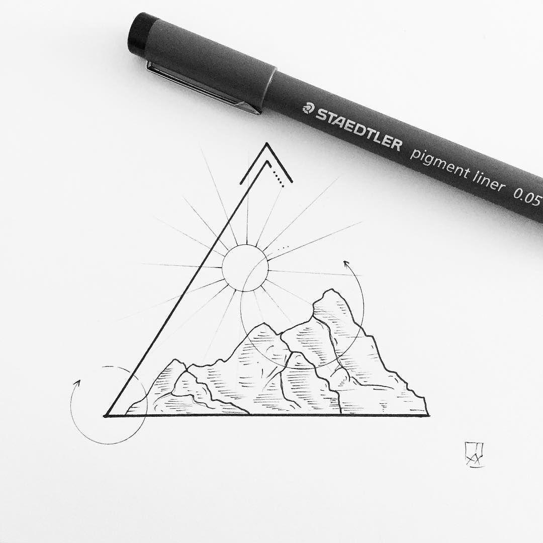 Montagne , Triangle , Soleil , Ligne