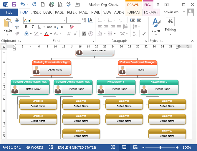 To create organizational chart in ms word programs designed