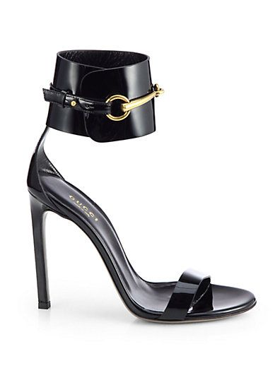 b64be2b93 Gucci Ursula Patent Leather Horsebit Ankle Strap Sandals | Couture ...