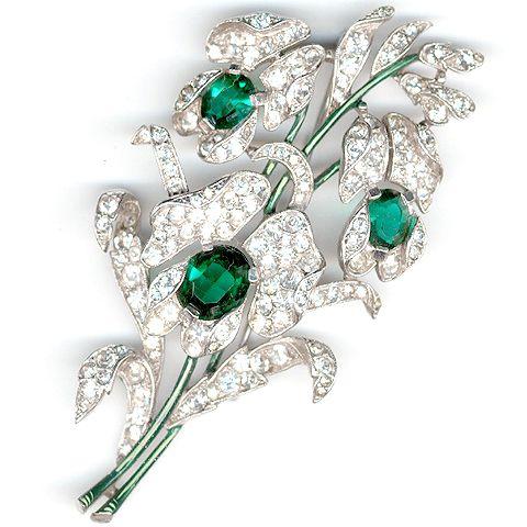 Trifari 'Alfred Spaney' Triple Emerald Floral Spray Pin 1941