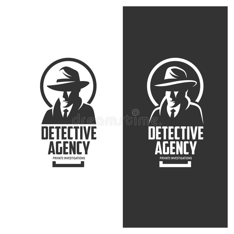 Detective Agency Emblem With Abstract Man Head In Hat Vintage