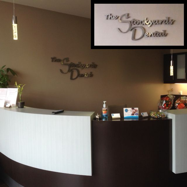 3D Dimensional Signage done by Speedpro Imaging QEW & 427 for The Stockyards Dental reception area! Classy!