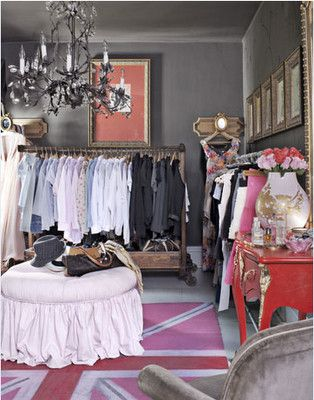 Lots Of Good Ideas Use A Whole Room As Closet Ottoman In The Center Chair Dresser Pictures On Walls Chandelier Area Rug