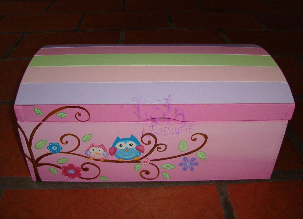 Lola artesan as baul tipo cofre con rama con buhos cajas ba l cofre y cajas - Baules pintados a mano ...