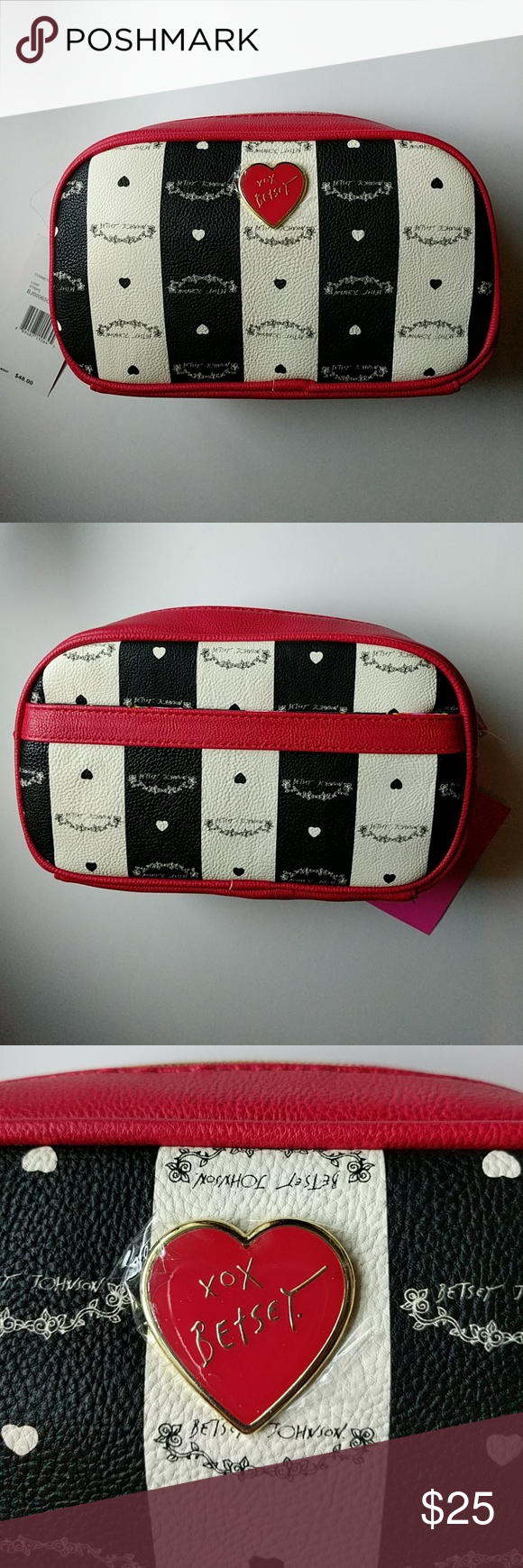 Betsy Johnson Loaf Stripe Cosmetic Bag Super cute red, white and black stripe design with outside pocket for extra storage. Beautiful floral design on the inside.  Bag size is 9.5 in. (24.13 cm.) length, 3.5 in. (8.80 cm.) width, and 6 in.(15.24 cm) height. Betsey Johnson Bags Cosmetic Bags & Cases