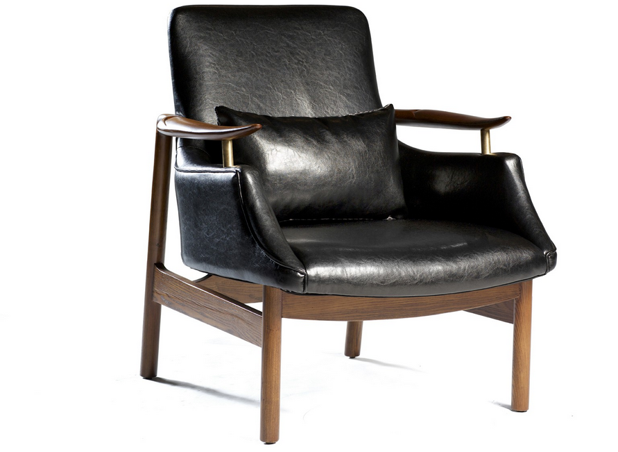 pc sessel schwarzes lederstuhl mit holz beine chair furniture cafe chairs