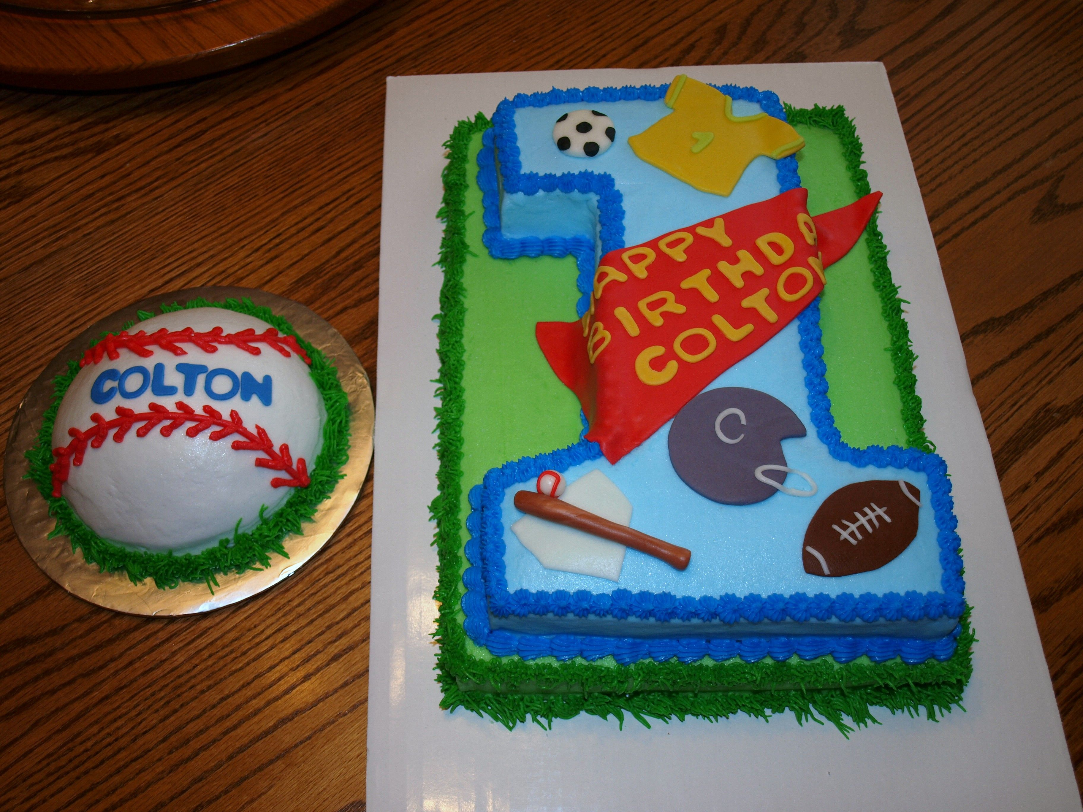 Amazing Sports Themed First Birthday Cake With Baseball Smash Cake With Funny Birthday Cards Online Alyptdamsfinfo