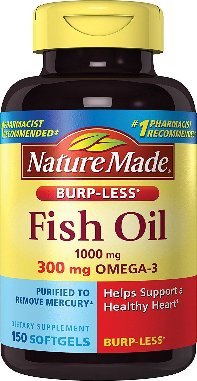 Nature Made Burp Less Fish Oil 1000 Mg 300 Mg Omega 3 150