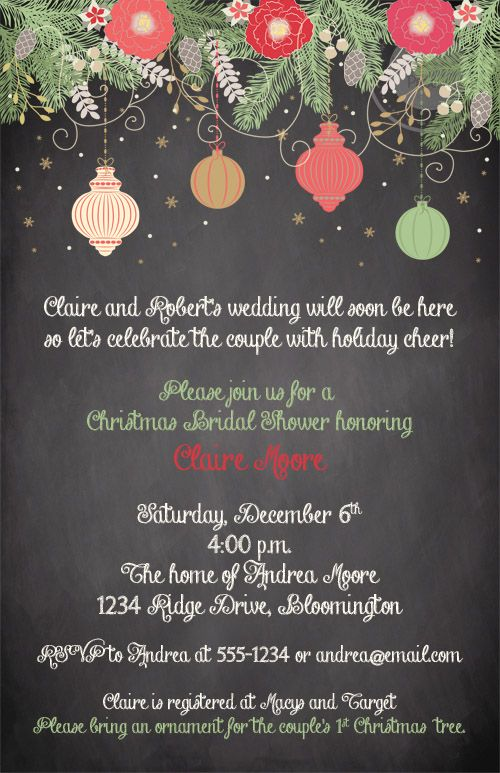 Chalkboard christmas ornament bridal shower invitations chalkboard christmas ornament bridal shower invitations expressions paperie a beautiful way to shower the bride filmwisefo Image collections