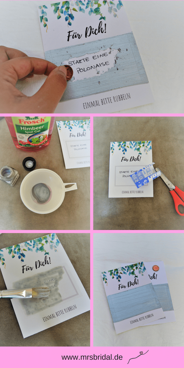 Haga tarjetas de rascar para la boda usted mismo con regalos – Sra. Bridal