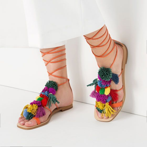 POMPOM LEATHER SANDALS from Zara