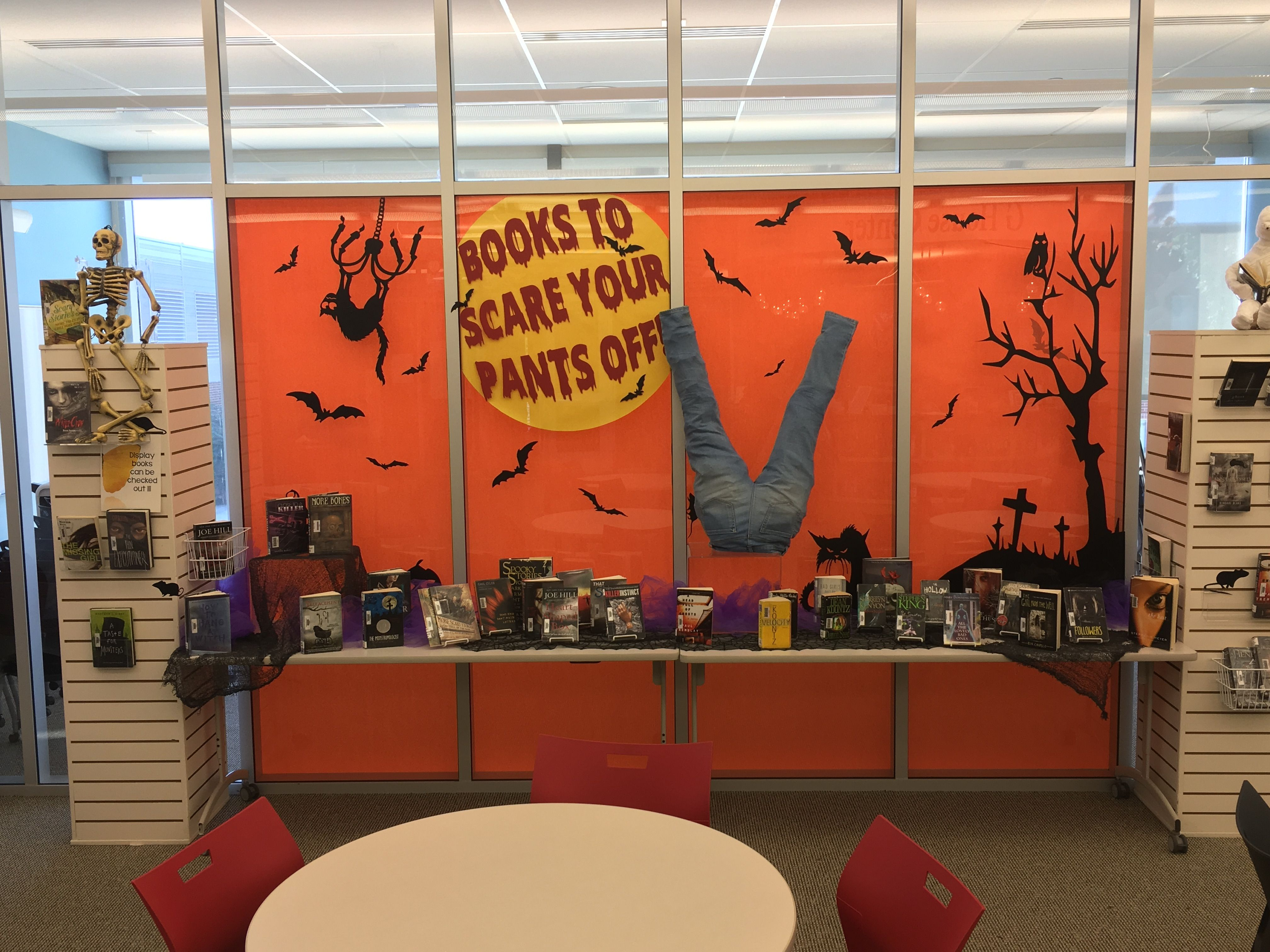 BOOKS TO SCARE YOUR PANTS OFF! Halloween library display