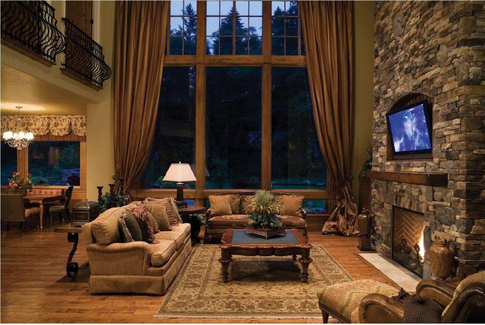 Interior Rustic Log Cabin Interior Design With Natural Stone Wall