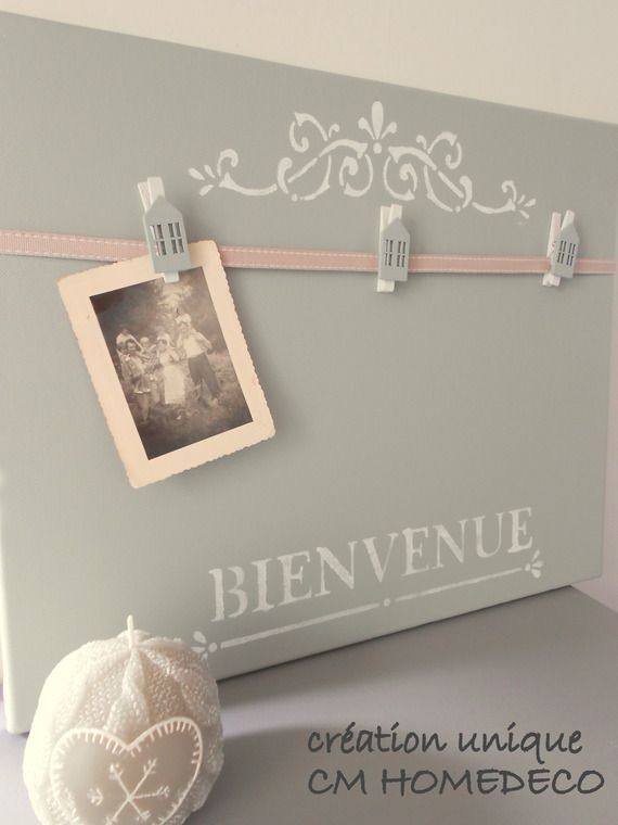 pele mele bienvenue d co r tro shabby chic sur toile coloris gris cr ation unique cm homedeco. Black Bedroom Furniture Sets. Home Design Ideas
