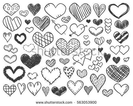 Valentines Day Hearts Doodles Set Romantic Stickers Collection