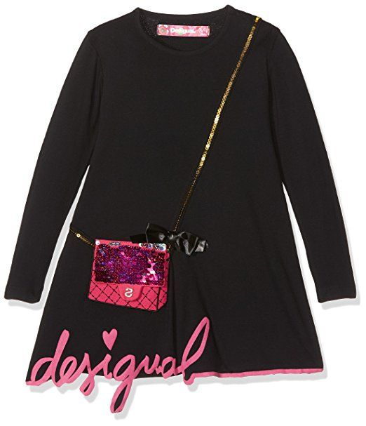 Desigual Robe Noir Fille Avec Petit Sac Rose Eur 55 95 Desigual Robe Fille Sac Rose