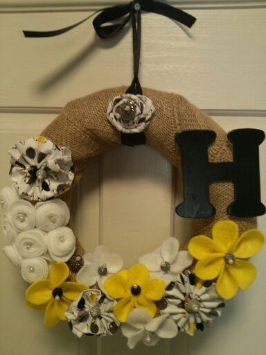 """Wreath 14""""  with handmade fabric flowers, pearl shapped pins, beads and letter of choice.  www.facebook.com/adoorablewreathsbydebbie"""