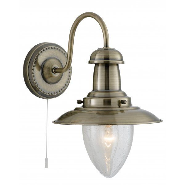 Searchlight 53311AB Fisherman 3 Light Antique Brass Wall Light - 3 Switch Light Fitting