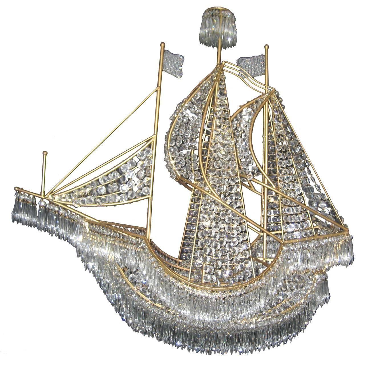 Large italian gilt bronze and crystal boat chandelier from a large italian gilt bronze and crystal boat chandelier arubaitofo Choice Image