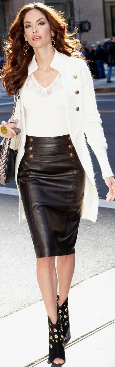 Classy leather pencil skirt, white cardigan and booties | Fall ...