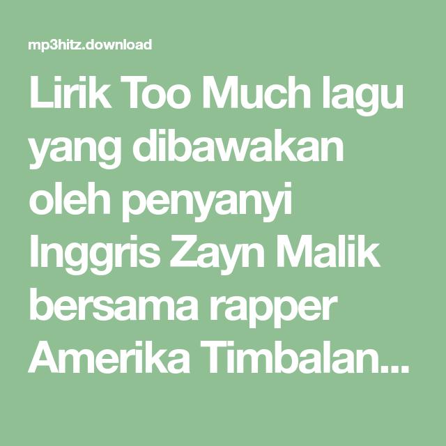 Lirik Too Much Lagu Yang Dibawakan Oleh Penyanyi Inggris Zayn