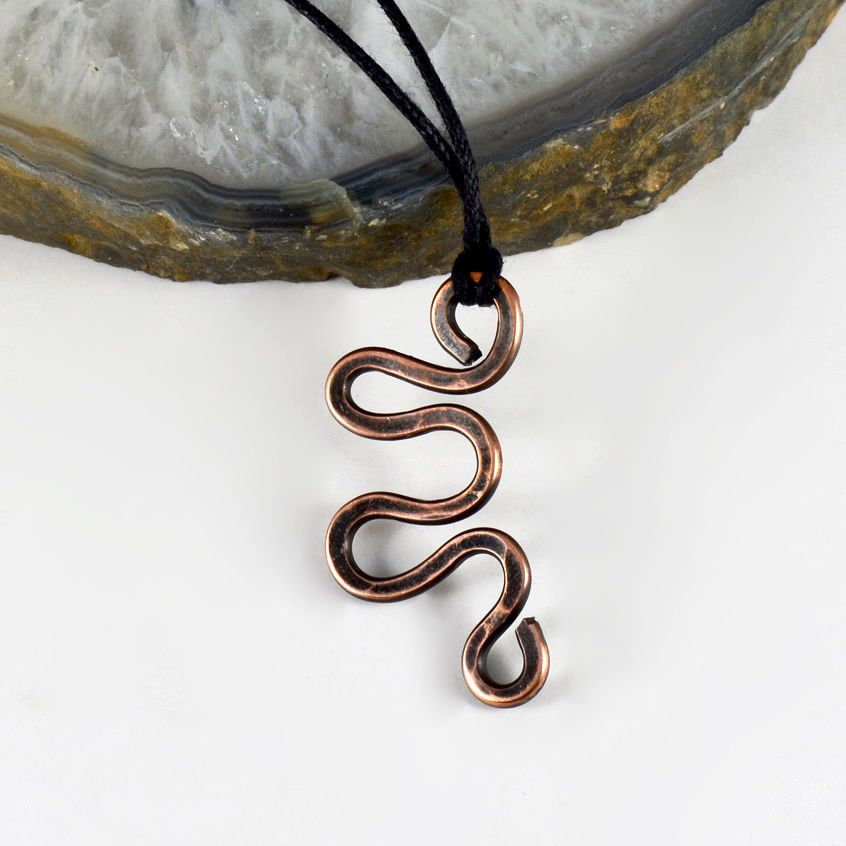 Hammered Copper Snake Pendant Antiqued Wire Wrapped Mba Handmade ...