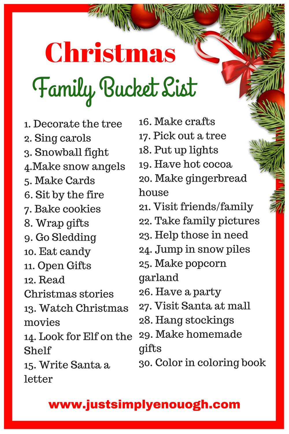 30 Christmas Family Bucket List Ideas Just Simply Enough Family Christmas Christmas Bucket List Bucket List Family