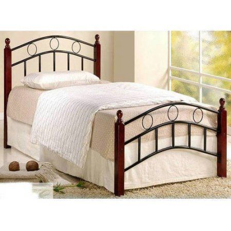 Hodedah Metal Frame With Wood Post Twin Bed Mahogany Twin