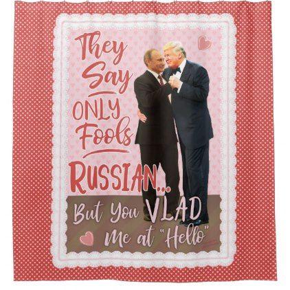 Funny Donald Trump Vladimir Putin Valentines Day Shower Curtain