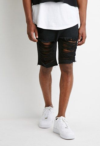 Destroyed Denim Shorts | 21 MEN | #forever21men | forever 21 | men ...