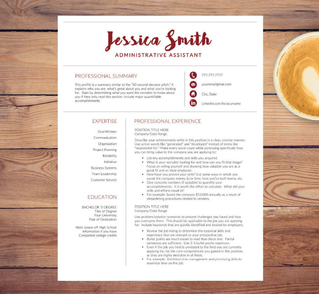 Creative Resume Template For Word A4 Letter 1 2 3 Page Resume