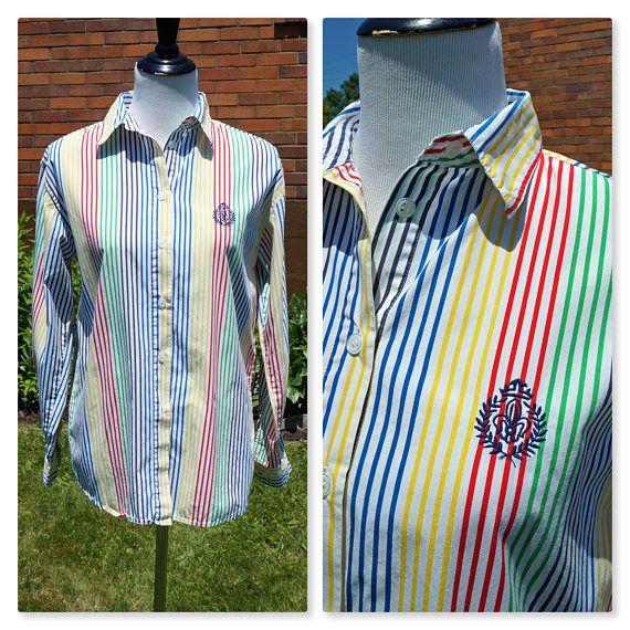 80s Stripe Button Down Multi-Color Shirt With Embroidered Insignia, 100% Cotton, Long Sleeve, Preppy  This is the classic Must Have shirt from the 80s. Its a crisp whit cotton collared button down with bright Rainbow stripes and a meaningless insignia thats just there to look cool. #80sshirt